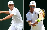 Tristan Schoolkate (L) and John Peers in action at Wimbledon in 2019 (Getty Images)