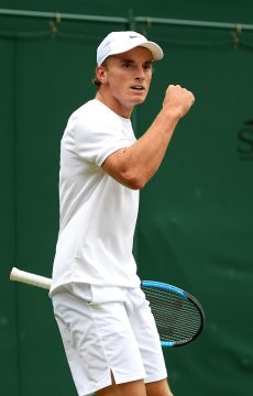 LONDON, ENGLAND - JULY 06: Tristan Schoolkate of Australia celebrates in his Boys' Singles first round match against Toby Kodat of the United States during Day six of The Championships - Wimbledon 2019 at All England Lawn Tennis and Croquet Club on July 06, 2019 in London, England. (Photo by Shaun Botterill/Getty Images)