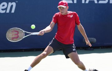Alex de Minaur in action during his first-round win over Pierre-Hugues Herbert at the US Open (Getty Images)