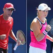 Alex de Minaur (L) and Ash Barty at the US Open (Getty Images)