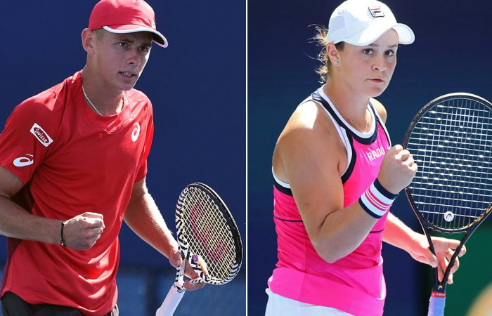 Alex de Minaur (L) and Ash Barty at the US Open (Getty Images)