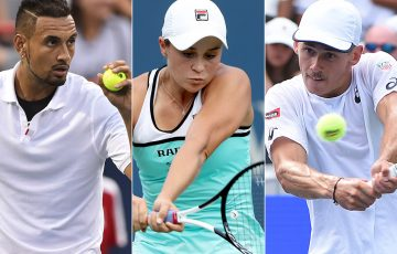 (L-R) Nick Kyrgios, Ash Barty and Alex de Minaur are the highest-ranked Australians competing at the US Open (Getty Images)