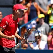 Alex de Minaur in action during his second-round win over Cristian Garin (Getty Images)