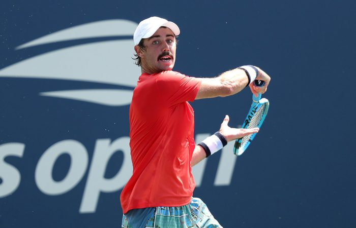 Jordan Thompson in action during his first-round win over Joao Sousa at the US Open (Getty Images)