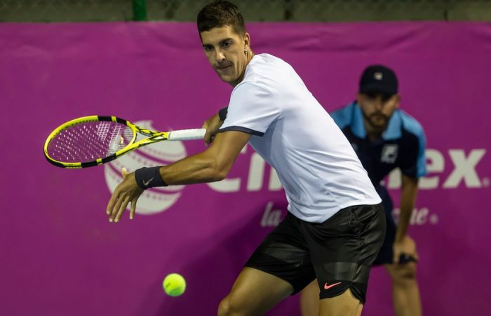 Thanasi Kokkinakis in action during his second-round victory over Lucas Pouille at the ATP event in Los Cabos (©Mextenis)