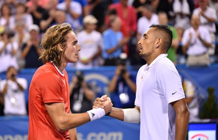 Nick Kyrgios (R) defeats Stefanos Tsitsipas in the semifinals of the Citi Open in Washington DC (photo: Peter Staples/ATP Tour)