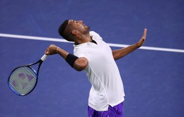 Nick Kyrgios in action during his first-round victory over Steve Johnson at the US Open (Getty Images)