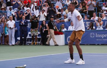 Nick Kyrgios celebrates his ATP title in Washington DC (Getty Images)