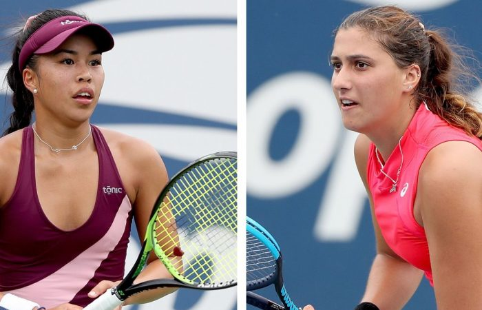 Lizette Cabrera (L) and Jaimee Fourlis compete in the final round of US Open qualifying (Getty Images)