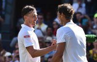 John Millman (L) and Rafael Nadal shake hands after Nadal won their first-round match at Wimbledon in 2017 (Getty Images)