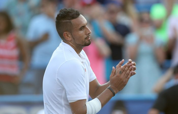 Nick Kyrgios celebrates his victory at the Citi Open in Washington DC (Getty Images)