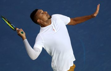 Nick Kyrgios serves en route to victory over Lorenzo Sonego in the first round of the Cincinnati Masters (Getty Images)