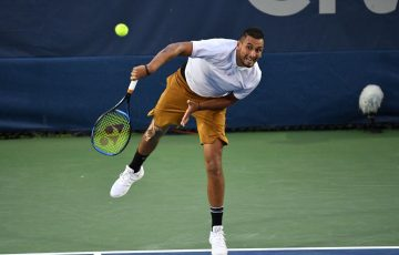 Nick Kyrgios in action during his third-round victory over Gilles Simon at the ATP tournament in Washington DC (photo: Peter Staples/ATP Tour)