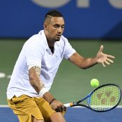 Nick Kyrgios in action during his third-round victory over Yoshihito Nishioka at the Citi Open in Washington DC (Getty Images)
