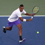 Nick Kyrgios in action during his second-round win over Antoine Hoang (Getty Images)