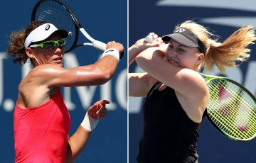 Sam Stosur (L) and Daria Gavrilova in action at the US Open in 2019 (Getty Images)