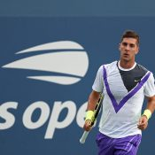 Thanasi Kokkinakis in action during his first-round match at the US Open (Getty Images)