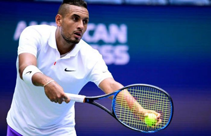 NEW YORK, NEW YORK - AUGUST 30: Nick Kyrgios of Australia prepares to serve during his Men's Doubles first round match on day five of the 2019 US Open at the USTA Billie Jean King National Tennis Center on August 30, 2019 in Queens borough of New York City. (Photo by Steven Ryan/Getty Images)