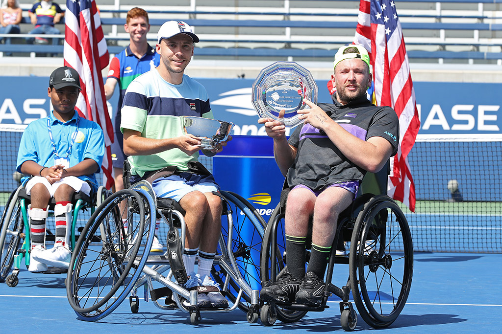 Dylan Alcott (R) and Andy Lapthorne after the US Open quad wheelchair singles final (Getty Images)