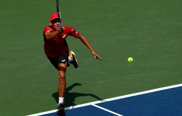 Alex de Minaur in action during his fourth-round loss to Grigor Dimitrov at the US Open (Getty Images)