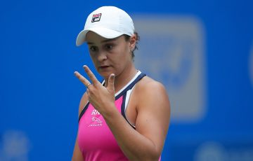 Ash Barty in action during her second round victory over Caroline Garcia in Wuhan (Getty Images)