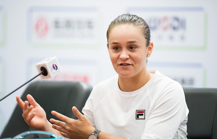 Ash Barty speaks to the media ahead of the 2019 Wuhan Open (Getty Images)