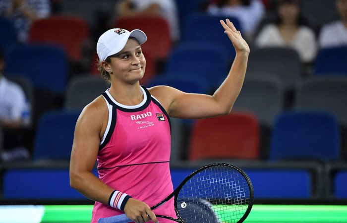 Ash Barty in action at the Wuhan Open (Getty Images)
