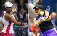 Ash Barty (L) and Bianca Andreescu in action at the 2019 US Open (Getty Images)