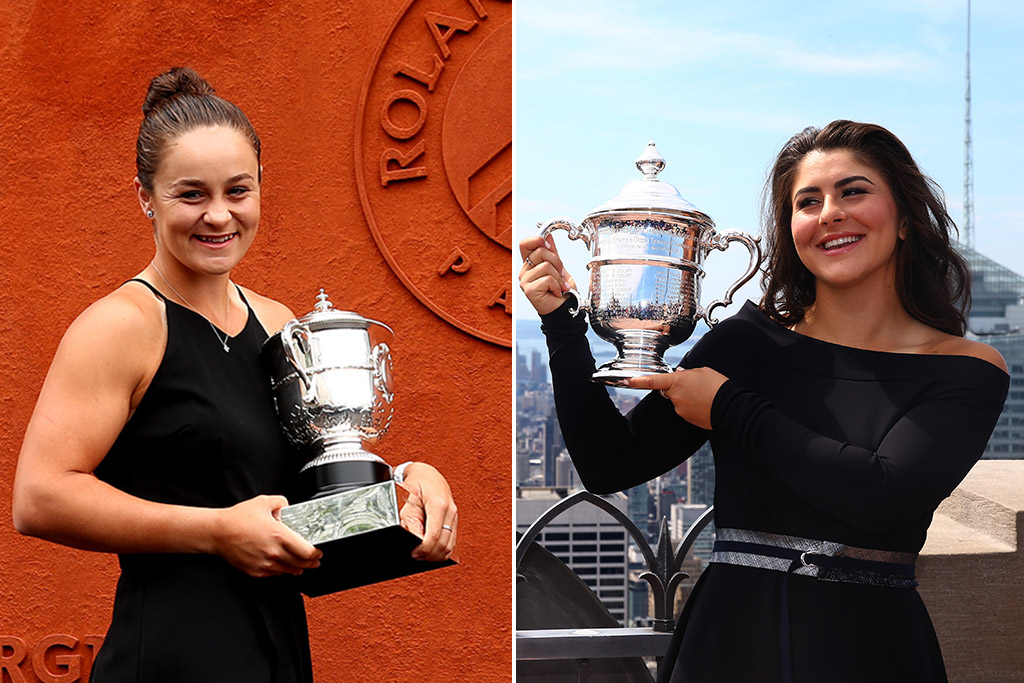 Ash Barty (L) celebrates her French Open triumph while Bianca Andreescu (R) celebrates her US Open win (Getty Images)