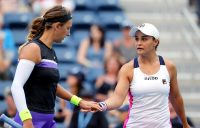 Ash Barty (R) and Victoria Azarenka in action during their quarterfinal victory over No.1 seeds Timea Babos and Kristina Mladenovic (Getty Images)