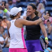 Ash Barty (L) and Victoria Azarenka celebrate their US Open quarterfinal victory over No.1 seeds Timea Babos and Kristina Mladenovic (Getty Images)