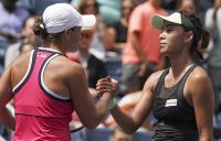 Ash Barty (L) and Wang Qiang shake hands after Wang won their US Open fourth-round clash (Getty Images)