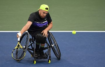 Dylan Alcott in action during his round-robin win over Bryan Barten at the US Open in 2019 (Getty Images)