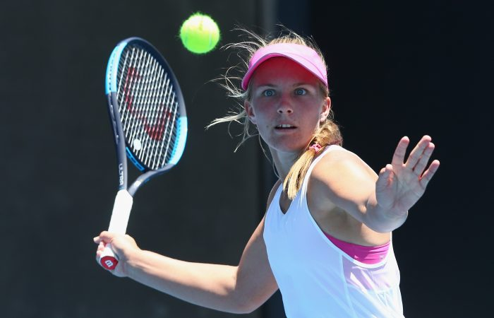 MELBOURNE, AUSTRALIA - JANUARY 09:  Maddison Inglis of Australia hits a forehand in her match against Naiktha Bains of Australia during day two of Qualifying for the 2019 Australian Open at Melbourne Park on January 9, 2019 in Melbourne, Australia.  (Photo by Mike Owen/Getty Images)