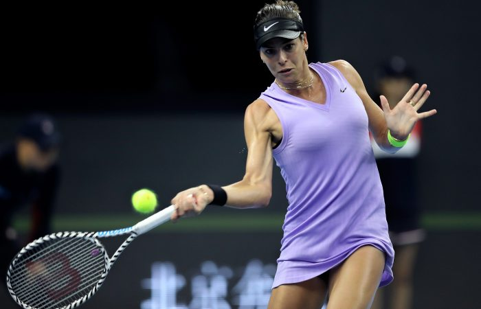 FOCUSED: Ajla Tomljanovic lines up a forehand during her China Open opening round; Getty Images