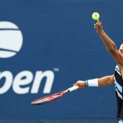 Rinky Hijikata in action during the boys' singles tournament at the US Open (Getty Images)