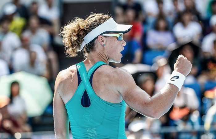 Sam Stosur in action during the WTA Guangzhou Open final (Getty Images)