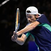 Alex de Minaur in action during the ATP Swiss Indoors final against Roger Federer in Basel (Getty Images)