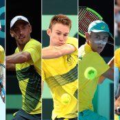 The Australian Davis Cup team of (L-R) Jordan Thompson, John Millman, John Peers, Alex de Minaur and Nick Kyrgios (Getty Images)