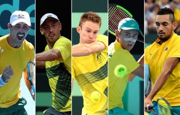 The Australian Davis Cup team of (L-R) Jordan Thompson, John Millman, John Peers, Alex de Minaur and Nick Kyrgios (Getty Images)