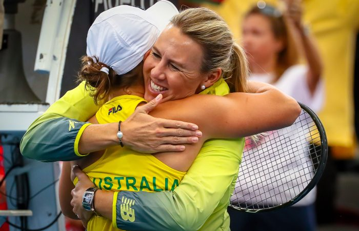 LEADER: Alicia Molik embraces Australian No.1 Ash Barty during the Fed Cup semifinal in Brisbane in April; Getty Images