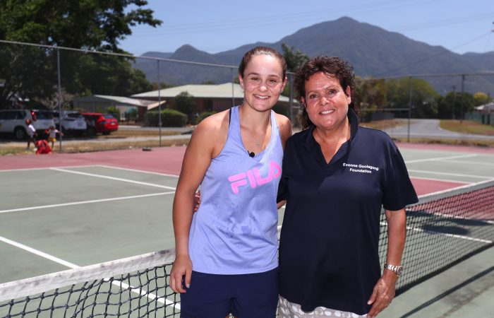 CAIRNS, AUSTRALIA - OCTOBER 09: Ashleigh Barty and Evonne Gollagong Cawley pose at Edmonton Tennis Club during an Indigenous tennis trip on October 09, 2019 in Cairns, Australia. (Photo by Chris Hyde/Getty Images)