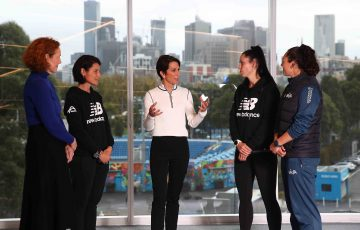 INSPIRING LEADER: Tennis Australia Chair Jayne Hrdlicka talks to President's Women in Tennis scholarship recipients.