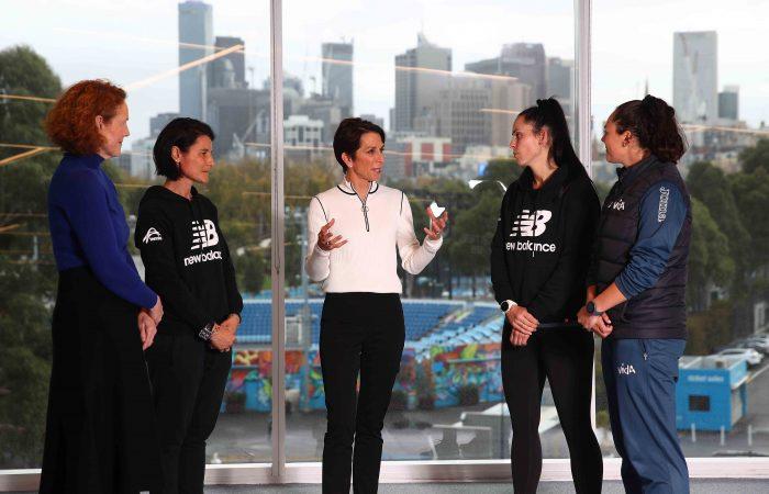 INSPIRING LEADER: Tennis Australia Chair Jayne Hrdlicka talks to President's Women in Tennis scholarship recipients.
