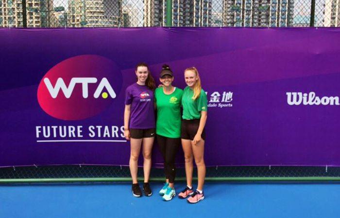 Talia Gibson, Casey Dellacqua, Taylah Preston 2019 WTA Future Stars