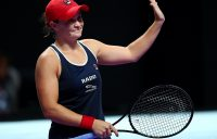 SHENZHEN, CHINA - OCTOBER 27: Ashleigh Barty of Australia celebrates match point against Belinda Bencic of Switzerland during their Women's Singles match on Day One of the 2019 WTA Finals at Shenzhen Bay Sports Center on October 27, 2019 in Shenzhen, China. (Photo by Clive Brunskill/Getty Images)