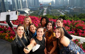 SHENZHEN, CHINA - OCTOBER 25: Petra Kvitova of the Czech Republic, Naomi Osaka of Japan, Elina Svitolina of Ukraine, Ashleigh Barty of Australia, Simona Halep of Romania, Bianca Andreescu of Canada, Belinda Bencic of Switzerland and Karolina Pliskova of the Czech Republic pose for a selfie ahead of the 2019 WTA Finals at Lotus Hill Park on October 25, 2019 in Shenzhen, China. (Photo by Clive Brunskill/Getty Images)
