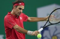 SHANGHAI, CHINA - OCTOBER 08: Roger Federer of Switzerland returns a shot against Albert Ramos-Vinolas of Spain on day four of 2019 Rolex Shanghai Masters at Qi Zhong Tennis Centre on October 8, 2019 in Shanghai, China. (Photo by Lintao Zhang/Getty Images)