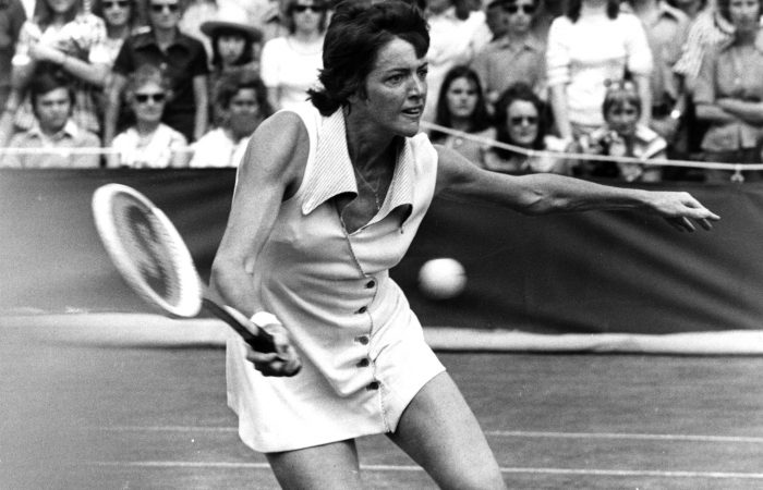 Australian tennis player Margaret Court (nee Smith) in action during a match.  Original Publication: People Disc - HC0454   (Photo by Evening Standard/Getty Images)