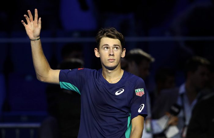 Alex de Minaur celebrates his opening win at the Next Gen ATP Finals in Milan. (Getty Images)